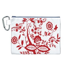 Red Vintage Floral Flowers Decorative Pattern Clipart Canvas Cosmetic Bag (l) by Simbadda