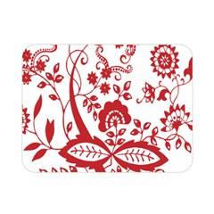 Red Vintage Floral Flowers Decorative Pattern Clipart Double Sided Flano Blanket (Mini)