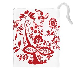 Red Vintage Floral Flowers Decorative Pattern Clipart Drawstring Pouches (xxl) by Simbadda