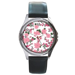 Vintage Floral Wallpaper Background In Shades Of Pink Round Metal Watch by Simbadda