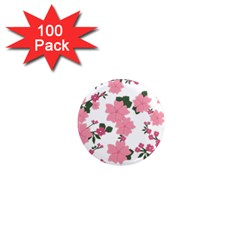 Vintage Floral Wallpaper Background In Shades Of Pink 1  Mini Magnets (100 Pack)  by Simbadda