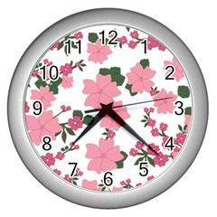 Vintage Floral Wallpaper Background In Shades Of Pink Wall Clocks (silver)  by Simbadda