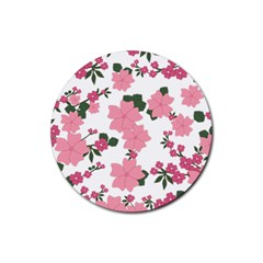 Vintage Floral Wallpaper Background In Shades Of Pink Rubber Round Coaster (4 Pack)  by Simbadda