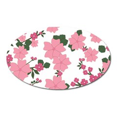 Vintage Floral Wallpaper Background In Shades Of Pink Oval Magnet by Simbadda