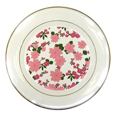Vintage Floral Wallpaper Background In Shades Of Pink Porcelain Plates by Simbadda