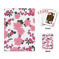Vintage Floral Wallpaper Background In Shades Of Pink Playing Card by Simbadda