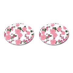 Vintage Floral Wallpaper Background In Shades Of Pink Cufflinks (Oval) by Simbadda