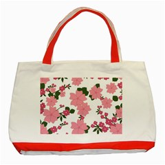 Vintage Floral Wallpaper Background In Shades Of Pink Classic Tote Bag (red) by Simbadda