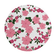 Vintage Floral Wallpaper Background In Shades Of Pink Round Ornament (two Sides) by Simbadda