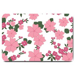Vintage Floral Wallpaper Background In Shades Of Pink Large Doormat  by Simbadda
