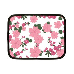 Vintage Floral Wallpaper Background In Shades Of Pink Netbook Case (small)  by Simbadda