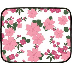 Vintage Floral Wallpaper Background In Shades Of Pink Fleece Blanket (mini) by Simbadda