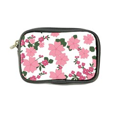 Vintage Floral Wallpaper Background In Shades Of Pink Coin Purse by Simbadda