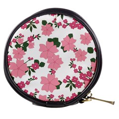 Vintage Floral Wallpaper Background In Shades Of Pink Mini Makeup Bags