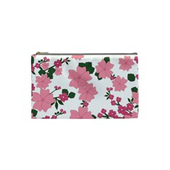 Vintage Floral Wallpaper Background In Shades Of Pink Cosmetic Bag (small)  by Simbadda