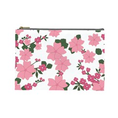 Vintage Floral Wallpaper Background In Shades Of Pink Cosmetic Bag (large)  by Simbadda