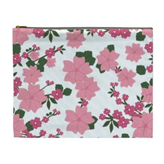 Vintage Floral Wallpaper Background In Shades Of Pink Cosmetic Bag (xl) by Simbadda