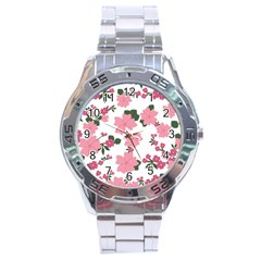 Vintage Floral Wallpaper Background In Shades Of Pink Stainless Steel Analogue Watch by Simbadda