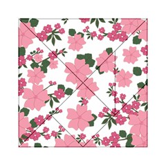 Vintage Floral Wallpaper Background In Shades Of Pink Acrylic Tangram Puzzle (6  X 6 ) by Simbadda
