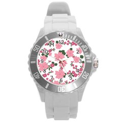 Vintage Floral Wallpaper Background In Shades Of Pink Round Plastic Sport Watch (l) by Simbadda