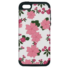 Vintage Floral Wallpaper Background In Shades Of Pink Apple Iphone 5 Hardshell Case (pc+silicone) by Simbadda