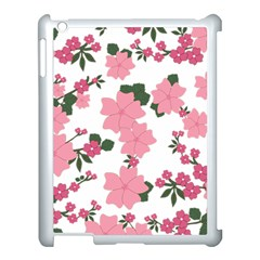 Vintage Floral Wallpaper Background In Shades Of Pink Apple Ipad 3/4 Case (white) by Simbadda