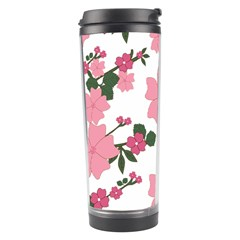 Vintage Floral Wallpaper Background In Shades Of Pink Travel Tumbler by Simbadda