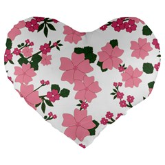 Vintage Floral Wallpaper Background In Shades Of Pink Large 19  Premium Flano Heart Shape Cushions by Simbadda