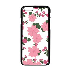 Vintage Floral Wallpaper Background In Shades Of Pink Apple Iphone 6/6s Black Enamel Case by Simbadda