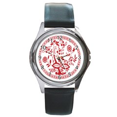 Red Vintage Floral Flowers Decorative Pattern Round Metal Watch by Simbadda