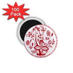 Red Vintage Floral Flowers Decorative Pattern 1 75  Magnets (100 Pack)  by Simbadda