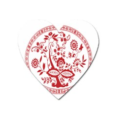 Red Vintage Floral Flowers Decorative Pattern Heart Magnet by Simbadda