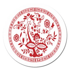 Red Vintage Floral Flowers Decorative Pattern Magnet 5  (round) by Simbadda