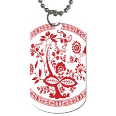 Red Vintage Floral Flowers Decorative Pattern Dog Tag (one Side) by Simbadda