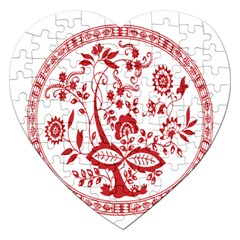 Red Vintage Floral Flowers Decorative Pattern Jigsaw Puzzle (heart) by Simbadda