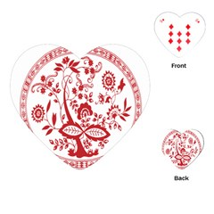 Red Vintage Floral Flowers Decorative Pattern Playing Cards (heart)  by Simbadda