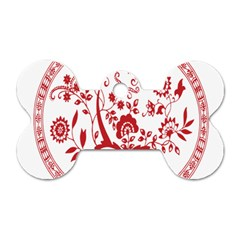 Red Vintage Floral Flowers Decorative Pattern Dog Tag Bone (two Sides) by Simbadda