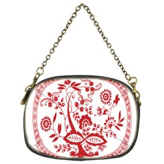 Red Vintage Floral Flowers Decorative Pattern Chain Purses (one Side)  by Simbadda