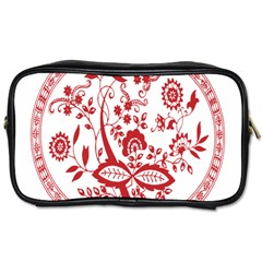 Red Vintage Floral Flowers Decorative Pattern Toiletries Bags 2 Side by Simbadda