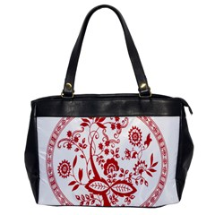Red Vintage Floral Flowers Decorative Pattern Office Handbags by Simbadda