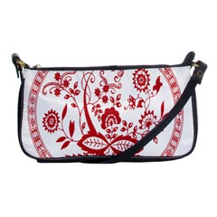 Red Vintage Floral Flowers Decorative Pattern Shoulder Clutch Bags by Simbadda