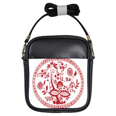 Red Vintage Floral Flowers Decorative Pattern Girls Sling Bags by Simbadda