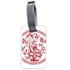Red Vintage Floral Flowers Decorative Pattern Luggage Tags (one Side)  by Simbadda