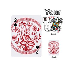 Red Vintage Floral Flowers Decorative Pattern Playing Cards 54 (mini)  by Simbadda