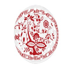Red Vintage Floral Flowers Decorative Pattern Ornament (oval Filigree) by Simbadda