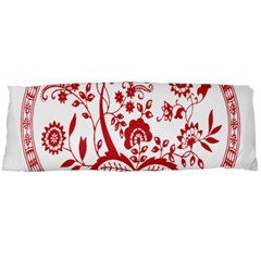 Red Vintage Floral Flowers Decorative Pattern Body Pillow Case (dakimakura) by Simbadda
