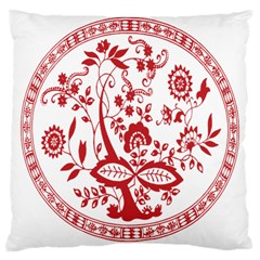 Red Vintage Floral Flowers Decorative Pattern Large Cushion Case (two Sides) by Simbadda