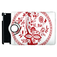 Red Vintage Floral Flowers Decorative Pattern Apple Ipad 2 Flip 360 Case by Simbadda