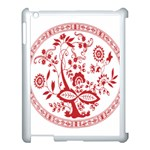 Red Vintage Floral Flowers Decorative Pattern Apple iPad 3/4 Case (White) Front
