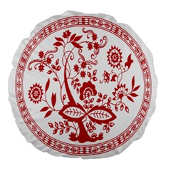 Red Vintage Floral Flowers Decorative Pattern Large 18  Premium Round Cushions by Simbadda